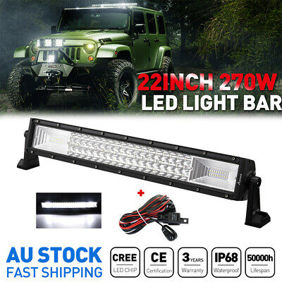 22Inch 270W CREE Work LED Light Bar Driving Spot&Flood Combo Offroad 4WD +Wiring