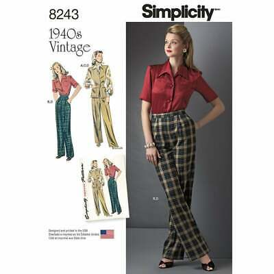 Simplicity 8243 Misses 1940's Vintage Sportswear Sewing Pattern Size 6-14, 16-24