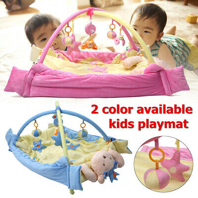 2 in 1 Blue/Pink Baby Playmat Crawl Activity Exercise Cushion Lay Mat & Toys AU