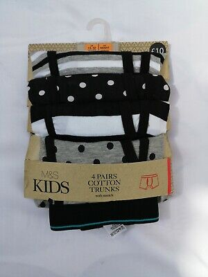 Boys 4 Pack Cotton Trunks With Stretch Black Mix Ex M&S Age 11-12 Years RRP £10