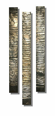Set of 3 textured canvas paintings. Silver & Grey artwork by Kerry Bowler