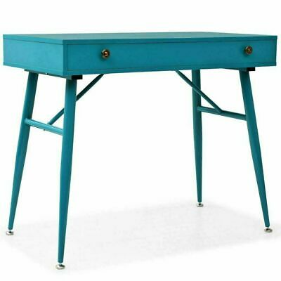 Retro Small Writing Desk Large Drawer Vintage Metal Home Office Computer Table