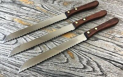 Vintage French Bread Knife Set Of 3 With Wooden Handle