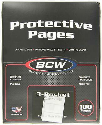 100 Sheets Bcw 3-Pocket Large Size 3.5 X 8 Currency Paper Money Binder Pages