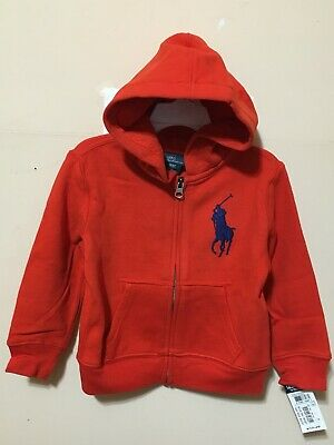 Polo Ralph Lauren Hoodie Jacket Baby Toddler Boy 3T Orange Hoodie NWT