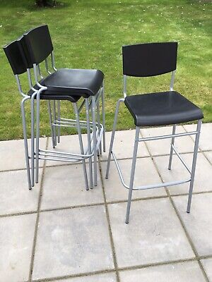 Astonishing Ikea Bar Stool With Backrest Stig Black Silver Colour 63Cm Gmtry Best Dining Table And Chair Ideas Images Gmtryco