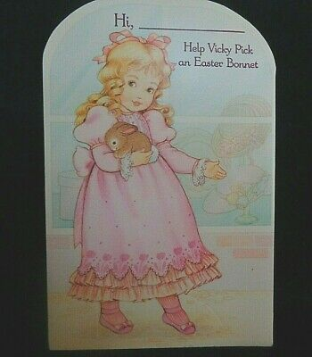 Paper Doll Greeting  for Easter   Vicky Card    Totally UNCUT  Beautiful