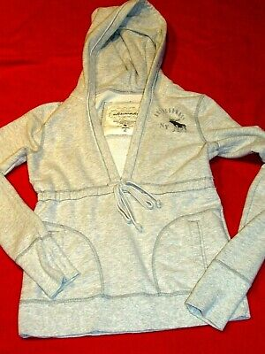 Abercrombie & Fitch Childs/Girls Grey Pull Over Hoodie V-Neck Top Size XL
