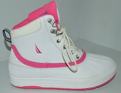 NAUTICA White & Pink Leather Winter Duck Boots Sz 7 Youth Big Girls VGC