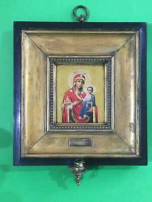 Antique Russian icon Virgin of Iversk with frame and bronze lamp