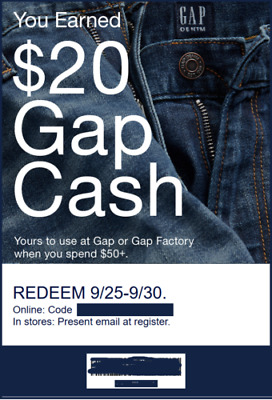 GAP $40 GapCash Coupon Use 9/25-9/30 - Valid Online & In Store! EMAILED FAST