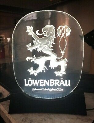Vintage LOWENBRAU BEER LION Electric Frosted GLOW IN THE DARK Light Up BAR SIGN