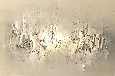 SALE! Contemporary canvas wall art painting.Textured Champagne Metallic Canvas