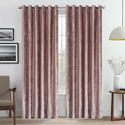 Blush Pink Luxury Crushed Velvet Window Curtain Ready Made Lined Eyelet Ring Top