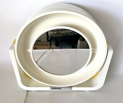 Vtg Makeup Mirror By Clairol Round Dual Sided Retro Yellow Space Age Make Up