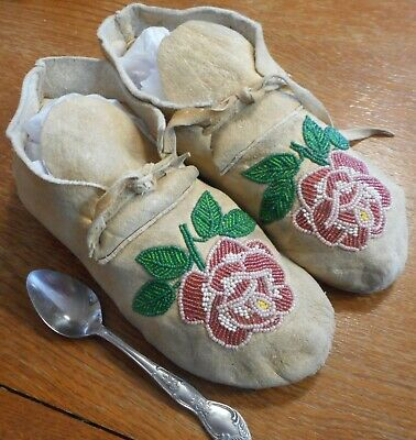 Antique beaded Native American Moccasins, floral on brain tan buckskin, OLD