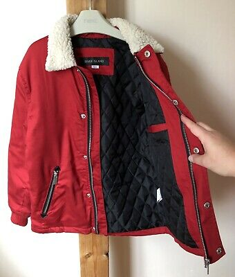 River Island Boys Red Autumn Jacket Bomber Style Age 8 Years Vgc
