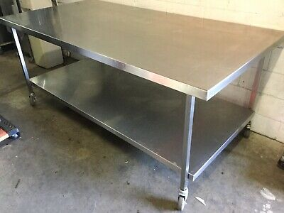 Commercial Kitchen Stainless Bakers XL Mobile Preparation Bench Under Shelf