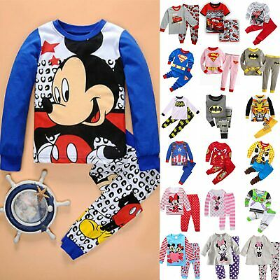Kid Boys Girls Mickey Minnie Sleepwear Casual Outfit Pyjamas Nightwear Pjs Set