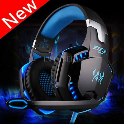 3.5mm Gaming Headset Mic LED Headphones Stereo Surround for PC Laptop PS4 Xbox Y
