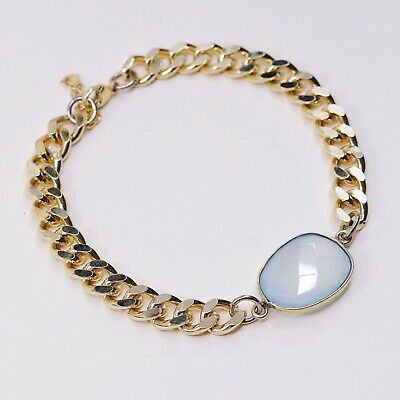 Sterling Silver 925 2 Rows Round and Oval Gemstone Bracelet QVC marked LIRM