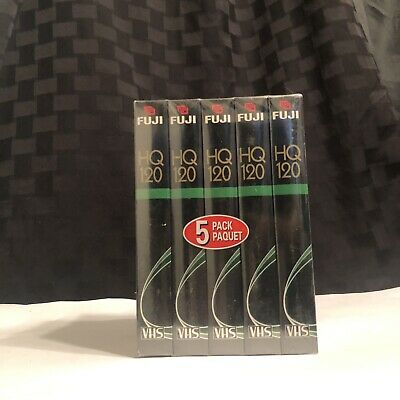 Fuji 5 Pack HQ 120 Blank VHS Tapes, 6 hours Factory Sealed Fujifilm !NEW!