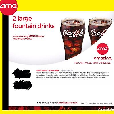 Instant Delivery: AMC Theater 2 Large Drinks || Exp 6/30/2020