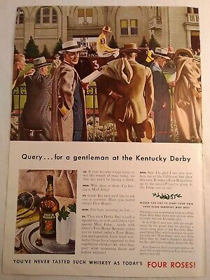 Vintage 1941 Four Roses Bourbon Whiskey Kentucky Derby Graphic Art Print Ad