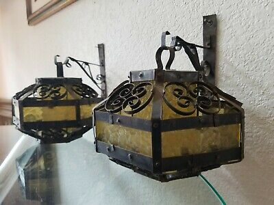 PAIR 1950's Wrought Iron Gothic Mid Century Spanish Revival Pendant Sconce Lamps