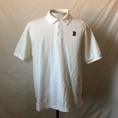 Vintage Nike Challenge Court Polo Shirt Large White VTG Swoosh Air Tennis Agassi