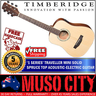 New Timberidge Left Handed Travel Solid Spruce Top Mini Acoustic-Electric Guitar