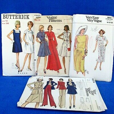 Lot of 4 Womens Vintage Patterns Vogue 8805 9607 8474 Butterick 4309 Size 12