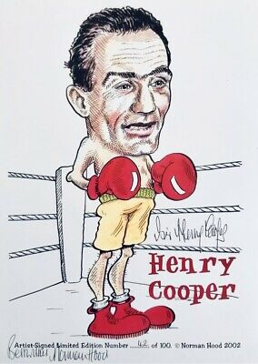 Sir Henry Cooper HAND SIGNED Boxing Legend Caricature Photograph *In Person* COA