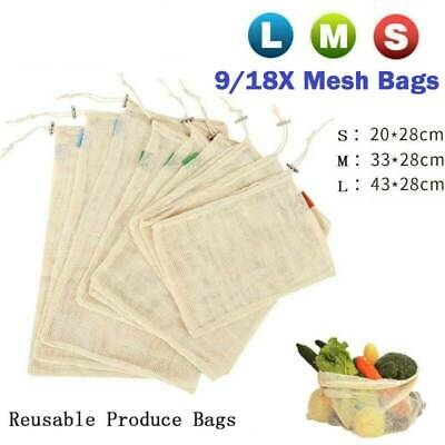 Reusable Mesh Produce Bag Set Mesh Shopping Bag Grocery Vegetable Storage Pouch
