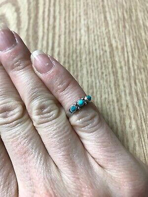 Old Pawn Turquoise Silver Ring Size 2