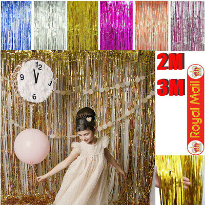 2M-3M Foil Fringe Tinsel Shimmer Curtain Door Wedding Birthday Party DECORATION❤