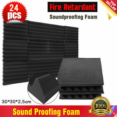 24PCS Acoustic Panels Tiles Studio Sound Proofing Insulation Closed Cell Foam UK