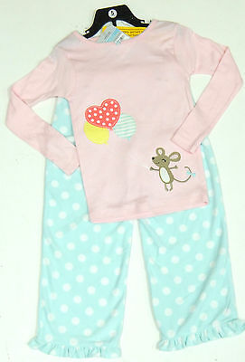 Carter's Girls 2 Pce Pyjamas Set Pink Embellished Top, Blue Fleecy Bottoms 6 Yrs