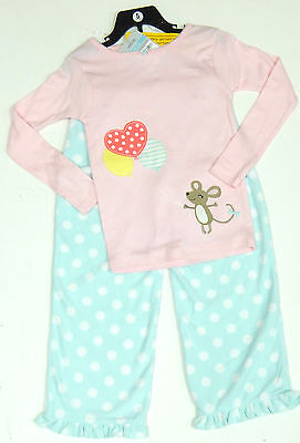 Carter's Girls 2 Pce Pyjamas Set Pink Embellished Top, Blue Fleecy Bottoms 4 Yrs