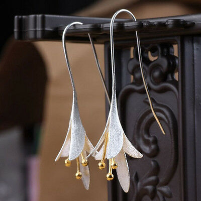 Fashion Jewellery Elegant Women Girls Silver Orchid Long Earrings Exquisite Gift