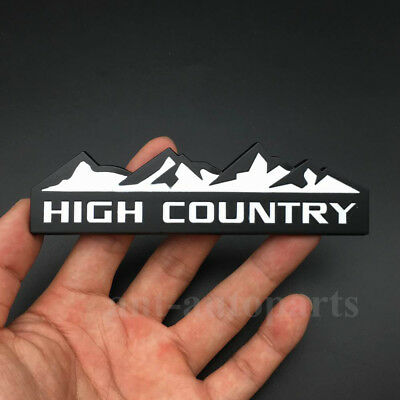 Metal White High Country Emblem Car Auto Trunk Fender Rear Badge Decal Sticker