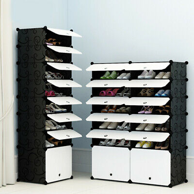 White Door Cube DIY Shoe Cabinet Rack Storage Portable Stackable Organiser Stand