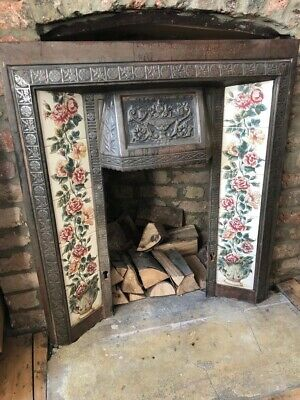 Antique Victorian Tiled Cast Iron Fireplace Surround