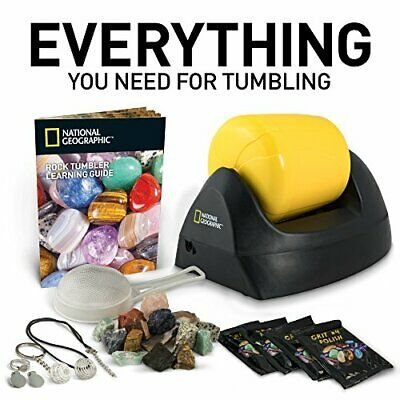 Rotary Rock Tumbler Starter Kit Jewelry Gems Stone Grits Drum Polisher Guide