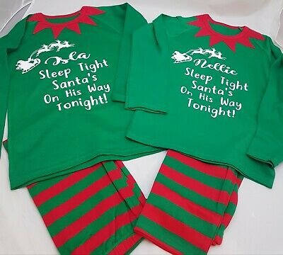 Personalised Pjs Pyjamas Christmas Xmas ANY TEXT Childrens 6-12mnths to 9-10 yrs