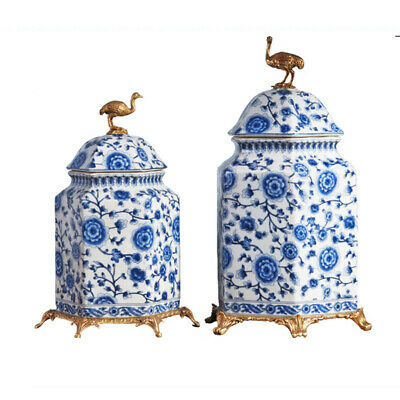 Chinoiserie Jar Blue and White Chinese Porcelain Ginger Chinoiserie Chic Jar