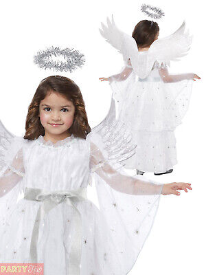 Girls Deluxe Angel Costume Childs Christmas Nativity Fancy Dress Xmas Outfit