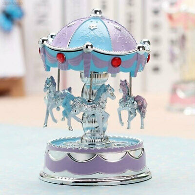 2CDD Horse Carousel Music Box Toy Light Clockwork Boxes Gifts Vintage Good