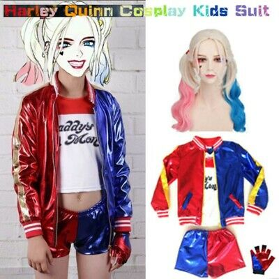 Suicide Squad Harley Quinn Cosplay Suit Clown Girl Coat/Shorts Halloween Costume
