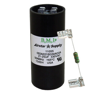 21-25 uF x 330 VAC BMI # 092A021B330AD2A Motor Start AC Capacitor with Resistor